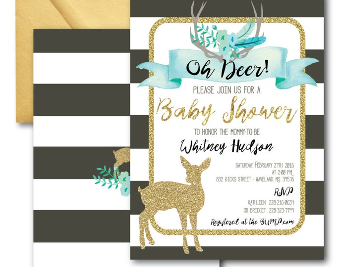Oh Deer Baby Shower Invitation // It's a Boy // Fawn Invitation // Boy // Blue // Grey // Woodland // Gold Glitter // OXFORD COLLECTION