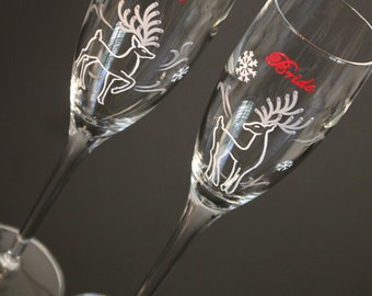 Custom Reindeer Wedding Toasting Flutes, Champagne Glasses, Snowflake Personalized Christmas Winter Bride Groom Cranberry Red Silver White