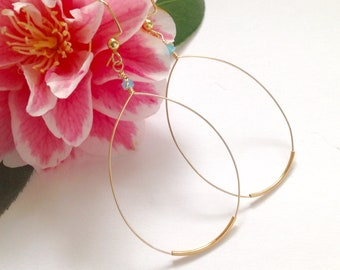 "Gold Oval Hoops, Thin Gold Hoop Earrings, Boho, Minimalist  2"" Hoops, Big Hoops, Classic hoops, Mother's Day Gift,"
