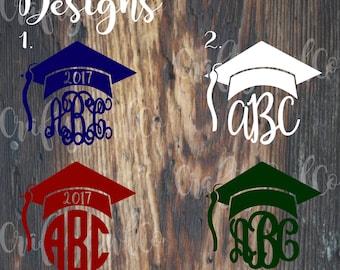 Personalized Graduation Decal, Monogrammed Graduation Cap, Sticker Graduation Gift, Present, Class of 2015 2016 2017