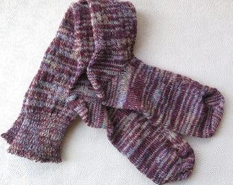 Custom Women's Socks Burgundy Knee High Boot Socks Wine-Colored Socks CSM Handcranked Variegated Wool Cotton Christmas Gift Custom Socks