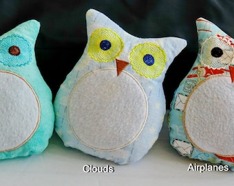 Embroidered Stuffed Owls