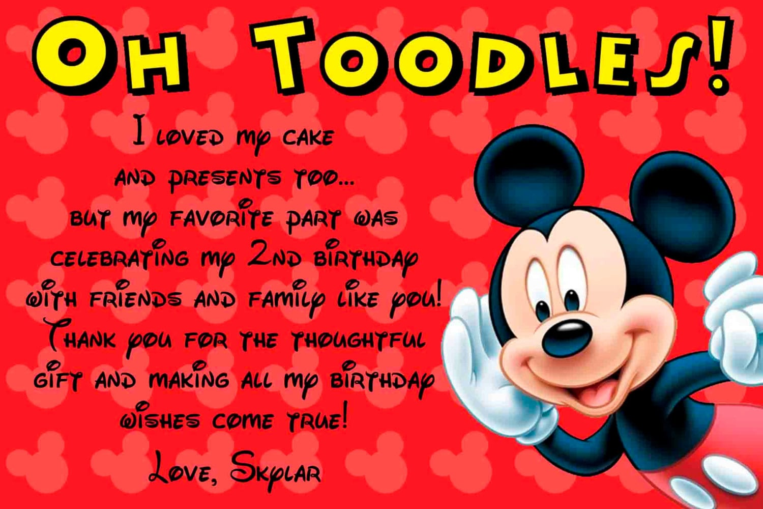 Mickey Mouse Birthday Thank You Cards Vatozozdevelopment