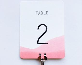 Wedding Table Numbers , Minimal Watercolor Dipped