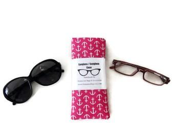 Eyeglass or Sunglass Case Holder, Pink Anchor Fabric, Sunglass Pouch, Birthday Gift For Women or Teen Girls