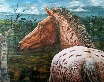 Horse painting in acrylic 48x36