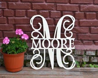Wooden Wreaths for Front Door Wedding Monogram wall hanging Initials Nursey Decor letters monogram door hanger wedding gift
