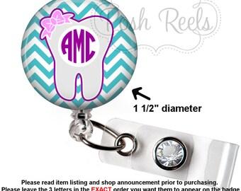 Retractable Badge Holder - Monogram Dental Hygienist Badge Reel - Cute Tooth Badge Holder - Choose Your Colors - 1171