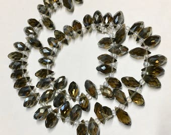 Olive Green AB Faceted Transparent Crystal Briolette Drop Teardrop Beads 6x12mm 13 Inch Strand