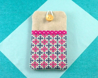 Handmade iPhone 8 X 7 Sleeve, iPhone 6 Wallet, iPhone 6S Plus Case, iphone 7 Plus Cover, Pink Geometric Fabric Phone Wallet, Gift for Her