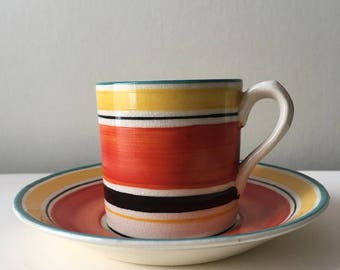 Vintage 1930s Susie Cooper Gray's Demitasse Cup Art Deco England 7670 Banded Hand Painted SALE
