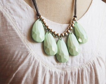 opaque mint seafoam lucite green with grey cotton jersey necklace