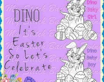 Digital stamp colouring image - Dino Easter Baby Bunny Boy/Girl. jpeg / png