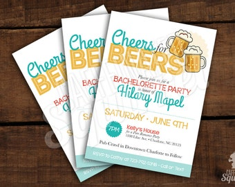 Cheers for Beers Bachelorette Party Invitations - Customizable - Printed- Bachelor, Beer, Drink, Alcohol, Pub, Bar