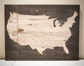 Custom Wood USA Map - Personalized Brown 22x30 Wooden Map Sign - Customizable Wood United States Map - Custom Wood Signs - Wood Sign Shop