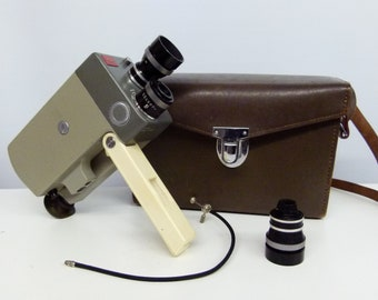 Vintage Leica Leicina 8mm Cine Camera - With Extra Lens, Leather Case and Plunger- 1950s