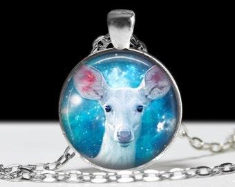 Deer Necklace Deer Jewelry Necklace Wearable Art Pendant Charm White Deer Pendant Charm Deer Keychain