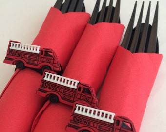 Firetruck Flatware - Firetruck Theme Party Cutlery, Red Firetruck Party Supplies, Fireman Party, Firefighter Party Supplies