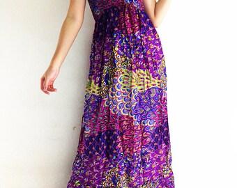 Women Maxi Dress Gypsy Dress Boho Dress Hippie Dress Summer Beach Dress Long Dress Party Dress Clothing Printed Pink Blue (DL18)