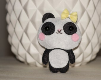 Mini Panda plush felt yellow bow