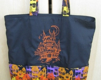 Halloween Haunted House Eco Friendly Tote, Purse, Bag