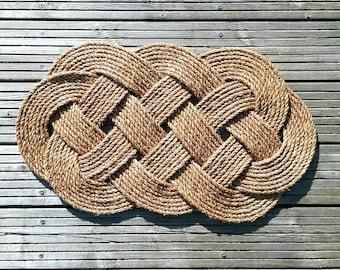 Nautical Rope Mat, Welcome Mat, Ocean Plait Knot. Natural Manila Rope Rug. 690 mm (27 inches) x 430 mm (17 inches) Handmade.