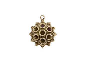 Chaton Settings for Multiple Stones - Antiqued Brass Ox Circular Setting Drop Charm or Pendant - Nickel Free Made in the USA - 4 Pieces