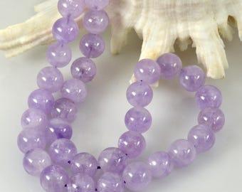 "Purple Lavender AMETHYST 15.35"" Strand 12 mm Smooth Round Gemstone Beads 78.9 g"