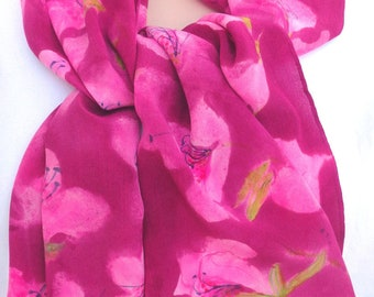silk scarf Pink Maroon Azalea long crepe unique hand painted  wearable art women fashion sprng summer fashion