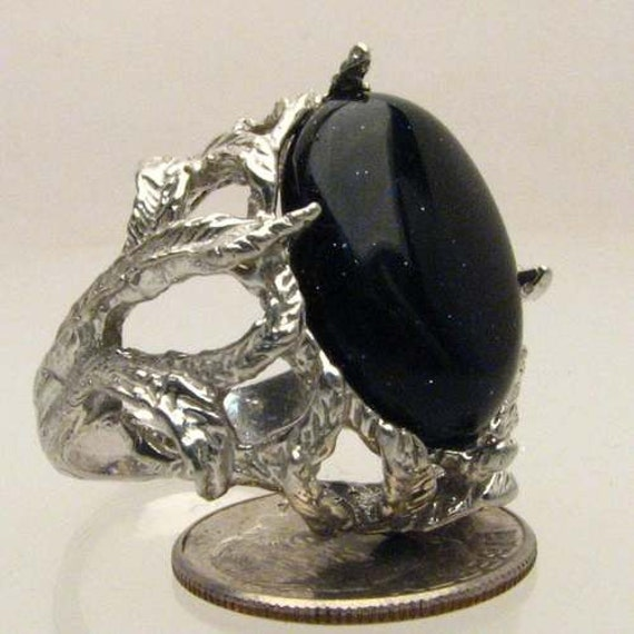 Handmade Solid Sterling Silver Gold Stone Cab Ring