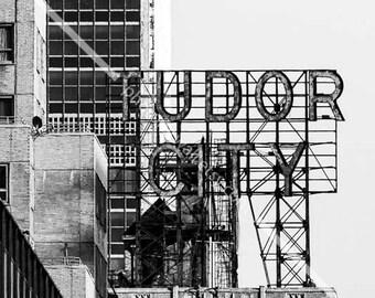 Tudor city New York photography/Manhattan black and white photo/NYC Large wall art/wall decor idea/office decor/bedroom decor/travel gift