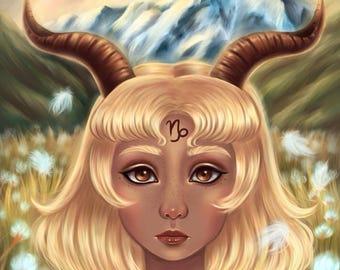 Capricorn - Zodiac, Astrology, 8.5x11 Fine Art Print, capricorn art, capricorn zodiac, constellation, pop surrealism