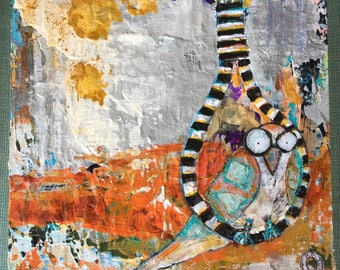 Strange bird art, small bird painting, pretty noose, bird in a noose, grey and orange painting, original art only no prints, small art
