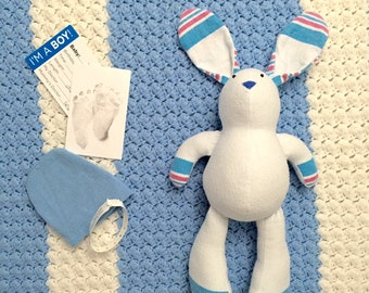 Receiving Blanket Bunny Rabbit Teddy Bear Memory Baby Shower Gift Keepsake