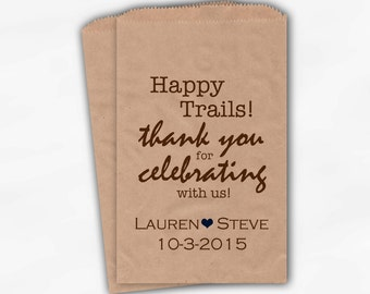 Happy Trails Wedding Candy Buffet Treat Bags - Brown Country Western Favor Bags with Names and Date - Kraft Paper Bags (0145)