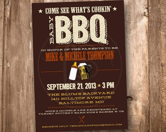 Couples Baby Shower, Baby BBQ, Jack and Jill shower, 5x7: Printable and customizable