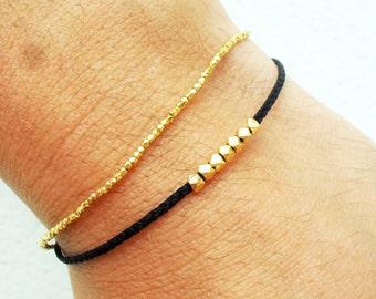 Wish bracelet, Mens bracelet, Gold nuggets bracelet - vermeil beads on nylon cord