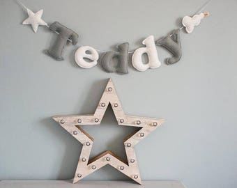 Personalised felt name bunting - name garland - star and cloud bunting - handmade - baby decor - nursery decor - MADE TO ORDER