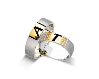 Yellow Gold Plated 925K Silver Wedding Band Engagement Ring Custom Personalized Ring His Her Band Initial Wedding Ring Initial Jewelry