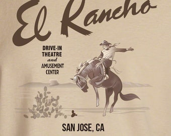 El rancho drive-in theater sign reproduction t-shirt vintage advertising art