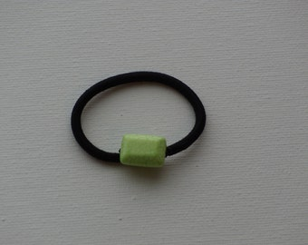 Dyed Magnesite lime green puffy rectangle bead, ponytail holder