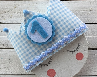 Birthday fabric Crown Blue and white Vichy squares
