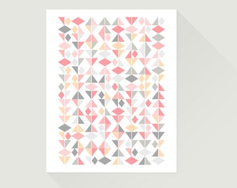 "12x16"". Geometric poster. Abstract print. Triangles pattern. Modern wall art for your home or office."