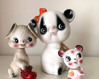 Vintage Japan big eye ceramic figurines
