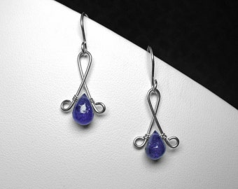 Tanzanite Earrings / Natural Tanzanite / Sterling Silver / Blue / Dangle Earrings /Handmade Earrings