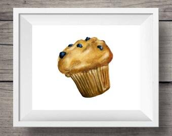 Blueberry Muffin Art Print   Food watercolor illustration   Breakfast Quality Print   10x8   7x5   Josianne Dufour art