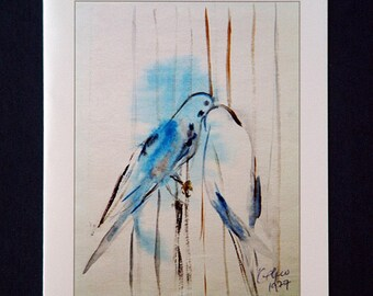Set of 5 blank cards - Two love birds