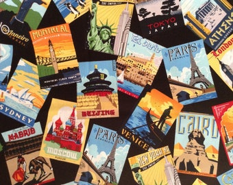 3/4 yard of wallet size photos of  travel destinations on black background cotton fabric