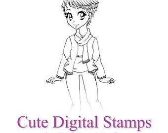 Irene, Digital Stamp, Cute Girl, Scrapbooking Digital Stamp, Instant Download, Zuri Artsy Craftsy