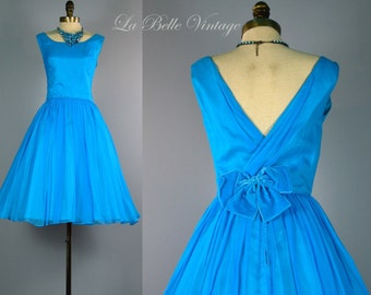 50s Blue Chiffon Dress XS Vintage Low V Back Frock ~ Full Skirt ~ Junior Theme